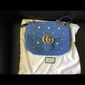 Gucci GG Marmont Denim Shoulder Bag